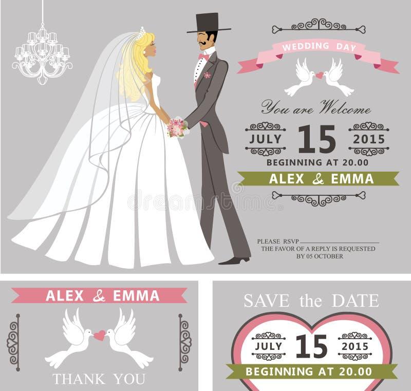 Insieme dell'invito di nozze Retro sposa e sposo del fumetto illustrazione di stock