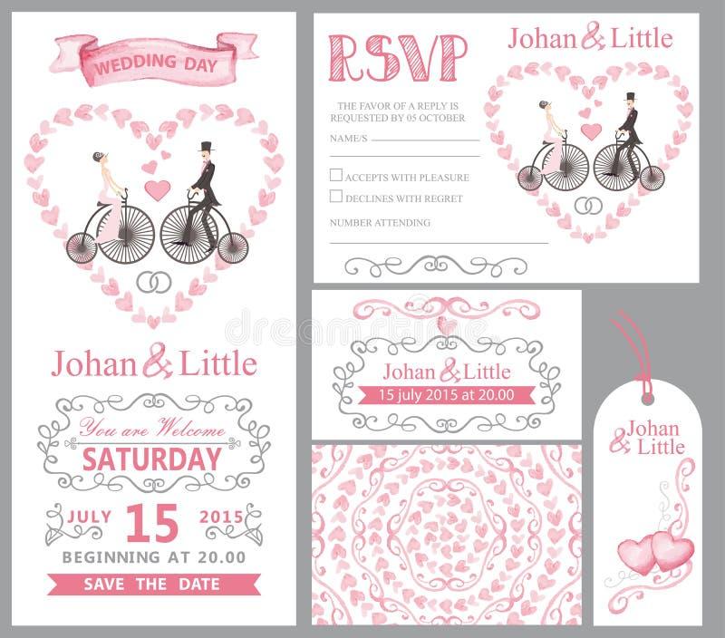 Insieme dell'invito di nozze Sposa, sposo, retro bici, decorazione rosa illustrazione vettoriale
