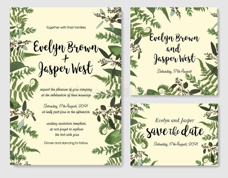 Insieme dell'invito di nozze di vettore, cartolina d'auguri, data di risparmi Fram royalty illustrazione gratis