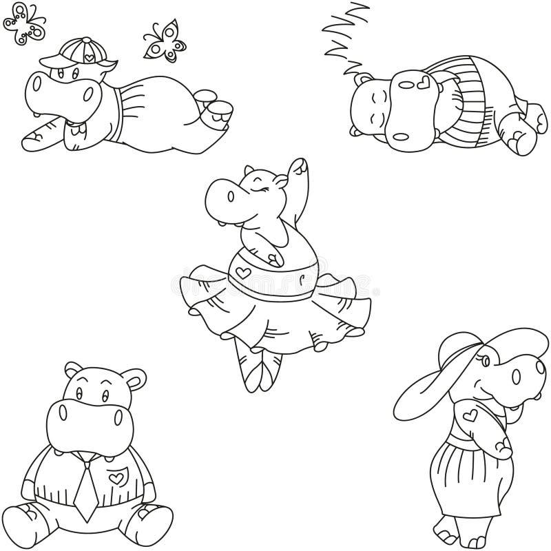 Insieme dell'ippopotamo sveglio del fumetto illustrazione vettoriale