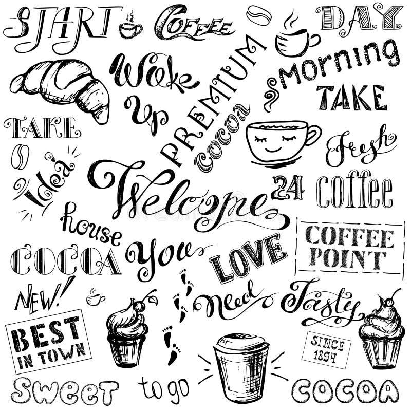 Insieme dell'iscrizione del cacao e del caffè, disegnato a mano su fondo bianco illustrazione vettoriale