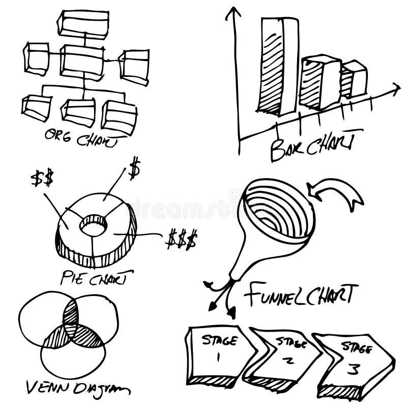 Insieme dell'oggetto del diagramma di affari illustrazione di stock