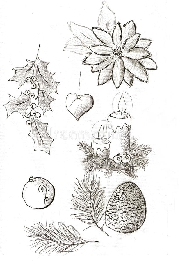 Insieme dell'oggetto di Natale royalty illustrazione gratis