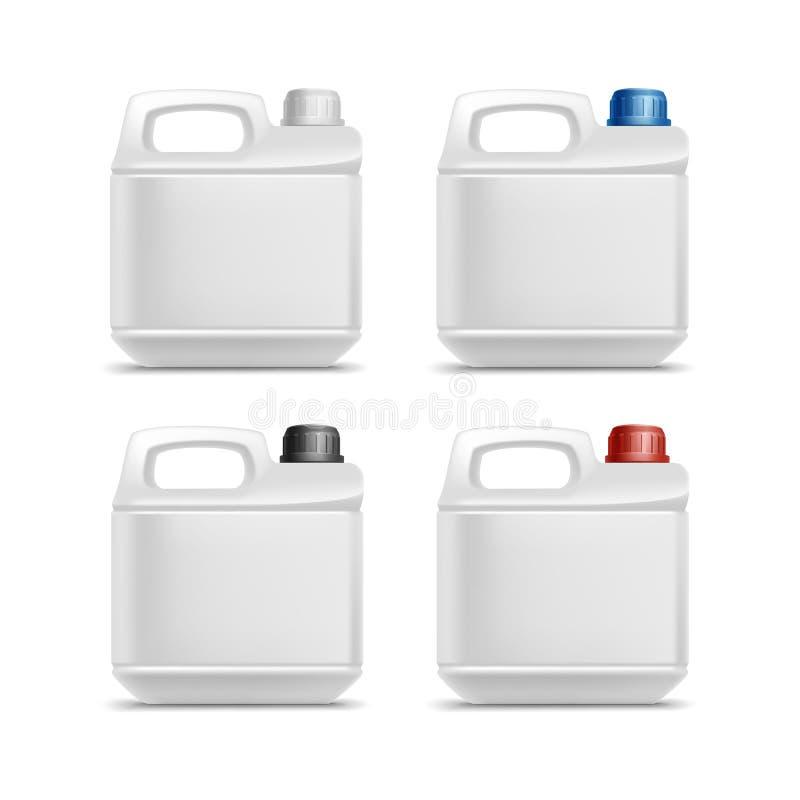 Insieme dell'olio di plastica in bianco di gallone della scatola metallica della tanica illustrazione di stock