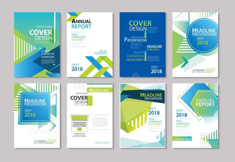 Insieme dell'opuscolo blu della copertura, aletta di filatoio, rapporto annuale, disposizione di progettazione illustrazione vettoriale