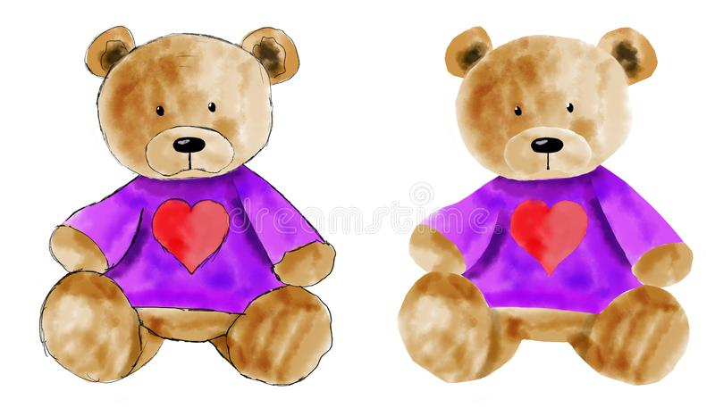 Insieme dell'orsacchiotto dell'acquerello per progettazione Disegnato a mano fotografia stock