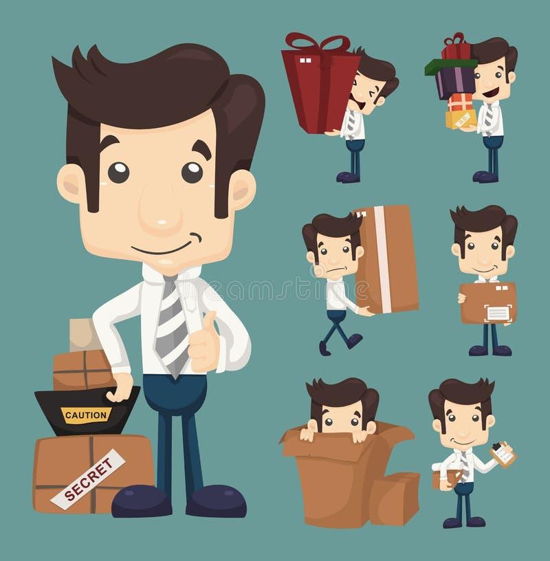 Insieme dell'ufficio e dell'imballaggio commoventi dell'uomo d'affari nei caratteri delle scatole illustrazione vettoriale
