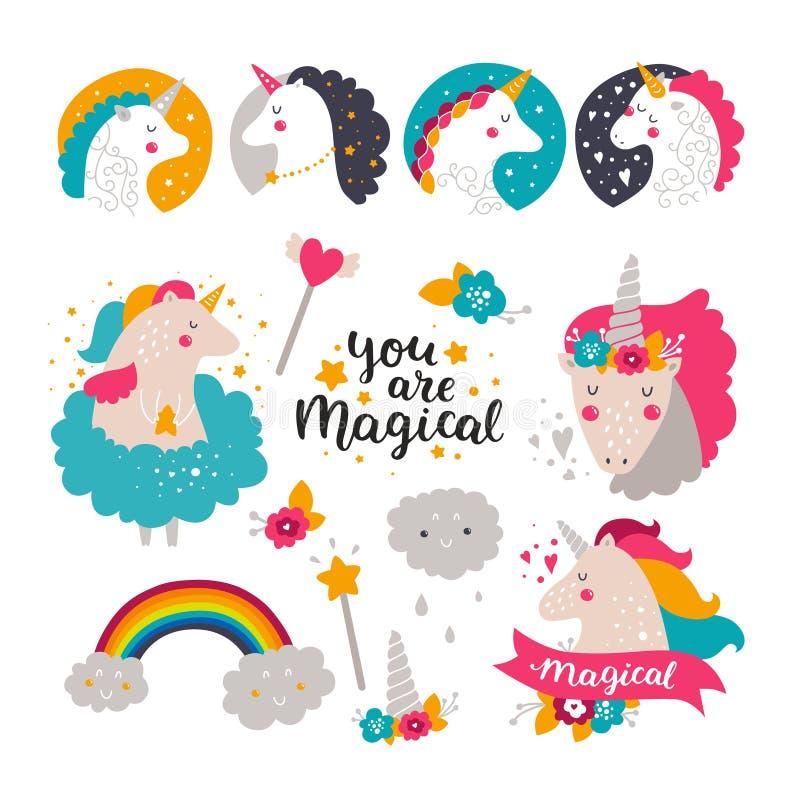 Insieme dell'unicorno e dell'arcobaleno del bambino royalty illustrazione gratis