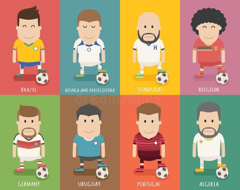 Insieme dell'uniforme nazionale della squadra di calcio, giocatore di football americano royalty illustrazione gratis
