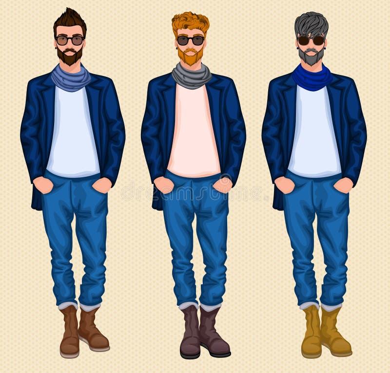 Insieme dell'uomo dei pantaloni a vita bassa royalty illustrazione gratis