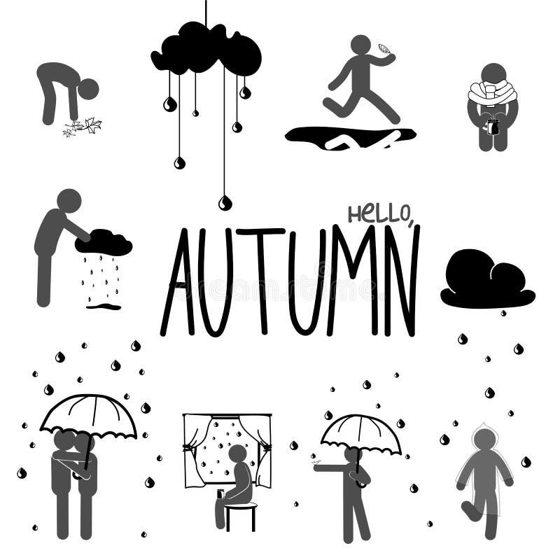 Insieme dell'uomo del bastone di autunno illustrazione di stock
