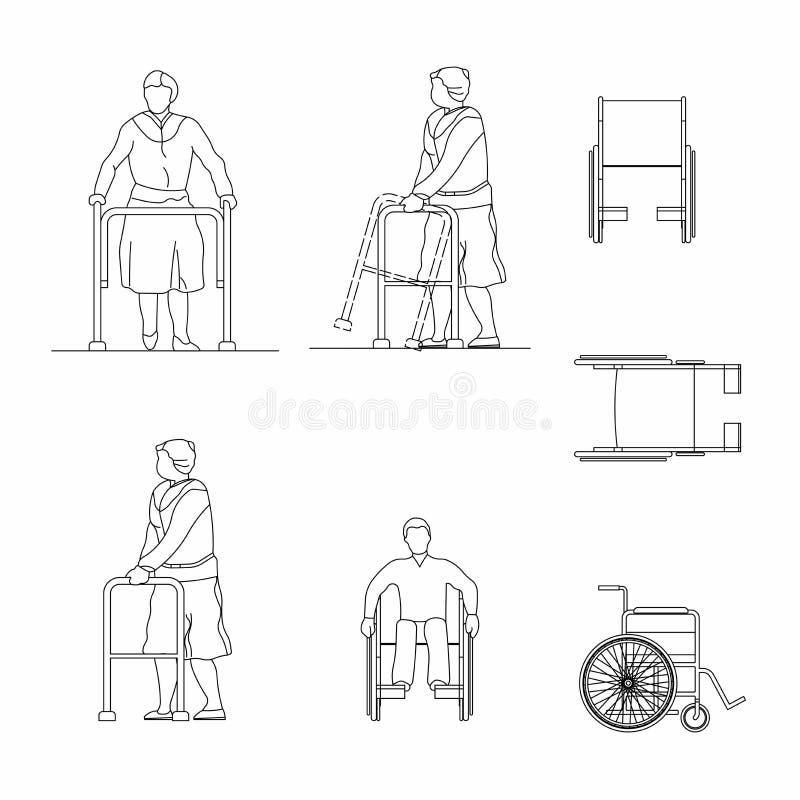 Insieme dell'uomo del profilo con una sedia a rotelle isolata su backgroun bianco illustrazione di stock