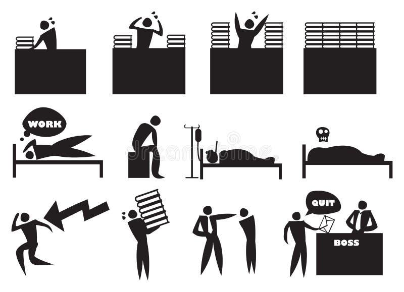 Insieme dell'uomo dell'icona di stress da lavoro illustrazione di stock