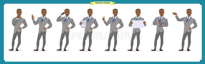 Insieme dell'uomo di affari di eroi che presenta in varia azione Giovani uomini felici dell'africano nero in vestito Carattere de illustrazione di stock