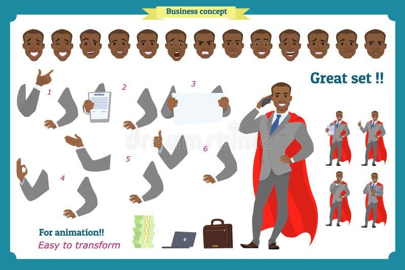 Insieme dell'uomo di affari di eroi che presenta in varia azione Giovani uomini felici dell'africano nero in vestito Carattere de royalty illustrazione gratis