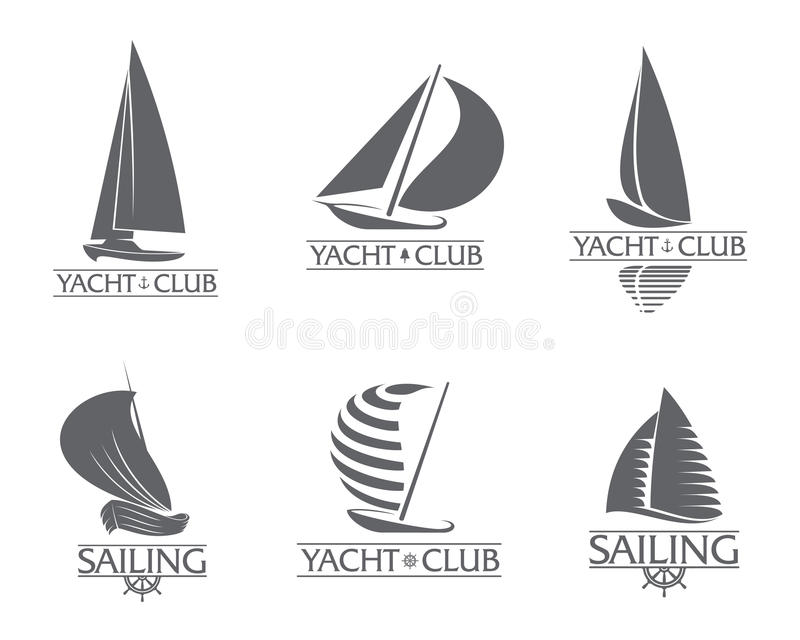 Insieme dell'yacht club grafico, navigante i modelli di logo di sport illustrazione di stock
