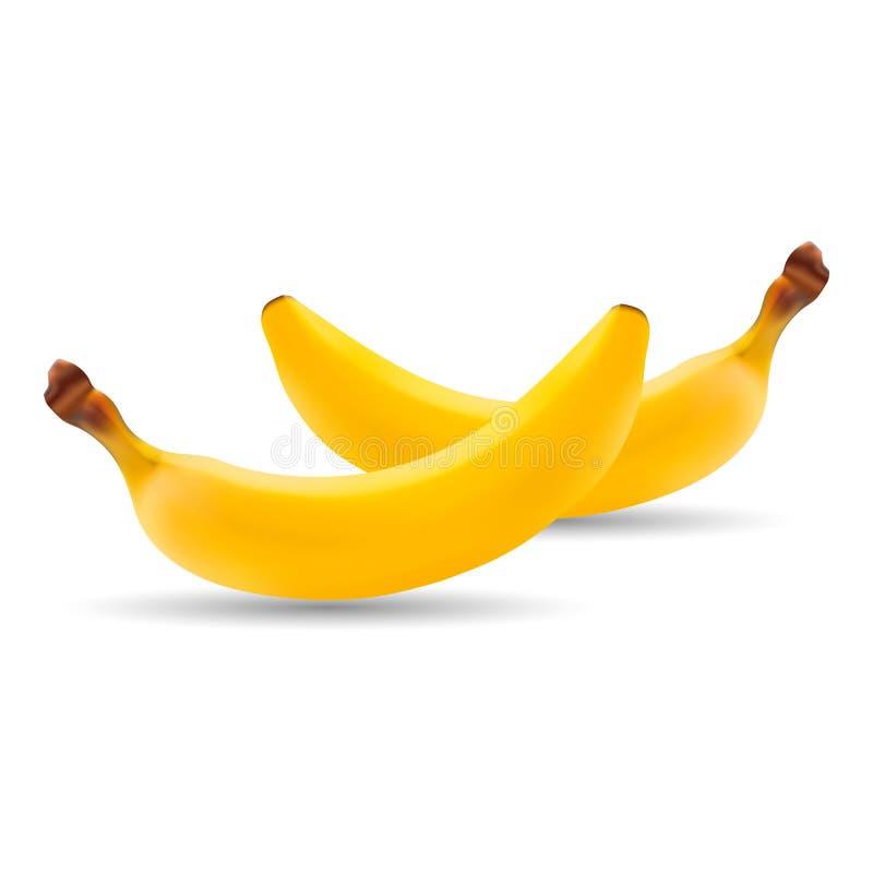 Insieme della banana fresca naturale Frutta organica sana isolata su un fondo bianco royalty illustrazione gratis