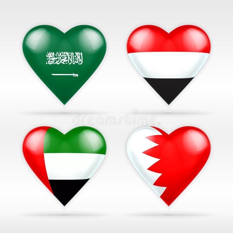 Insieme della bandiera del cuore dell'Arabia Saudita, dell'Yemen, degli Emirati Arabi Uniti e del Bahrain illustrazione vettoriale