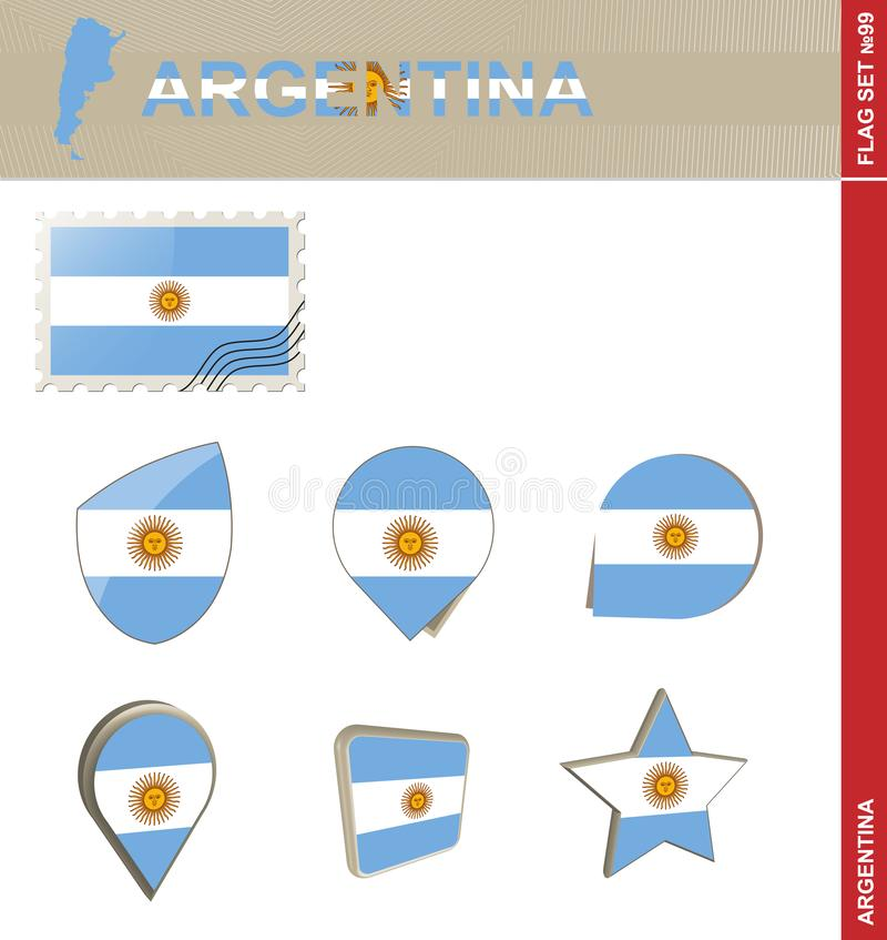 Insieme della bandiera dell'Argentina, insieme #99 della bandiera illustrazione di stock