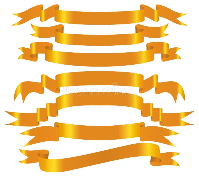 Insieme della bandiera dell'oro di vettore royalty illustrazione gratis