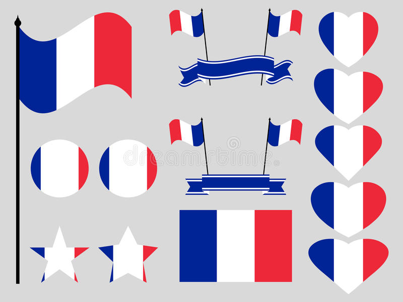 Insieme della bandiera della Francia Raccolta dei simboli, bandiera nel cuore Vettore royalty illustrazione gratis