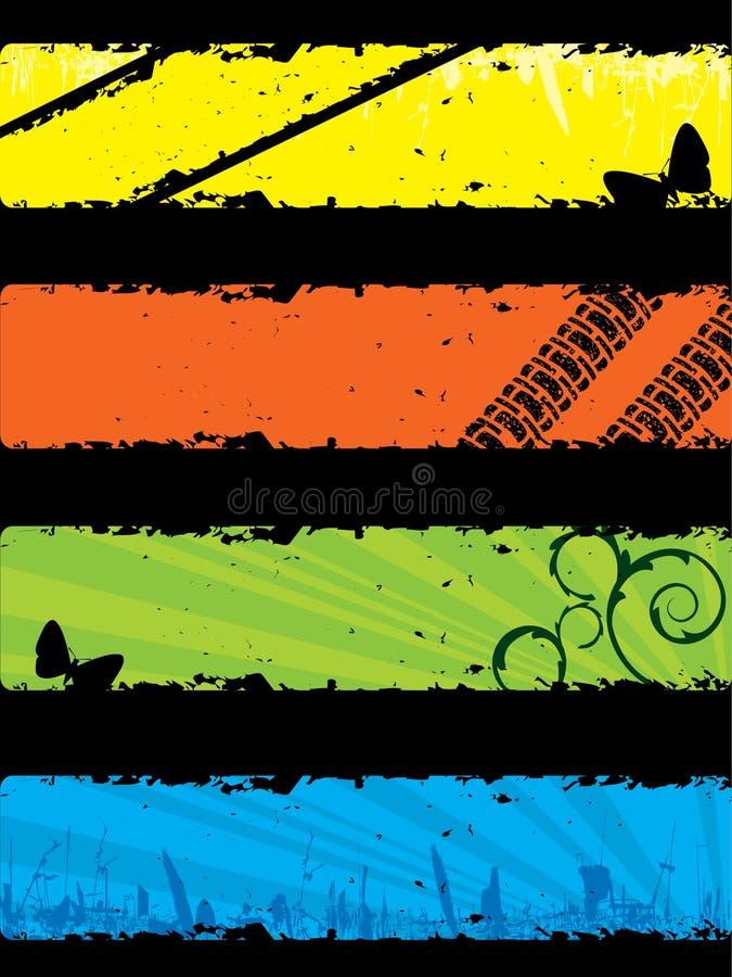 Insieme della bandiera di Grunge illustrazione vettoriale