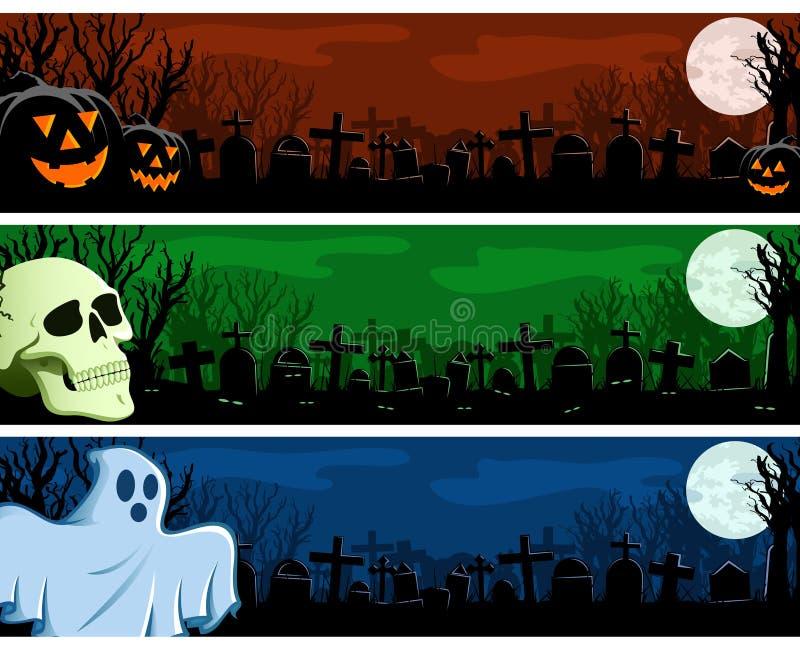 Insieme della bandiera di Halloween illustrazione di stock