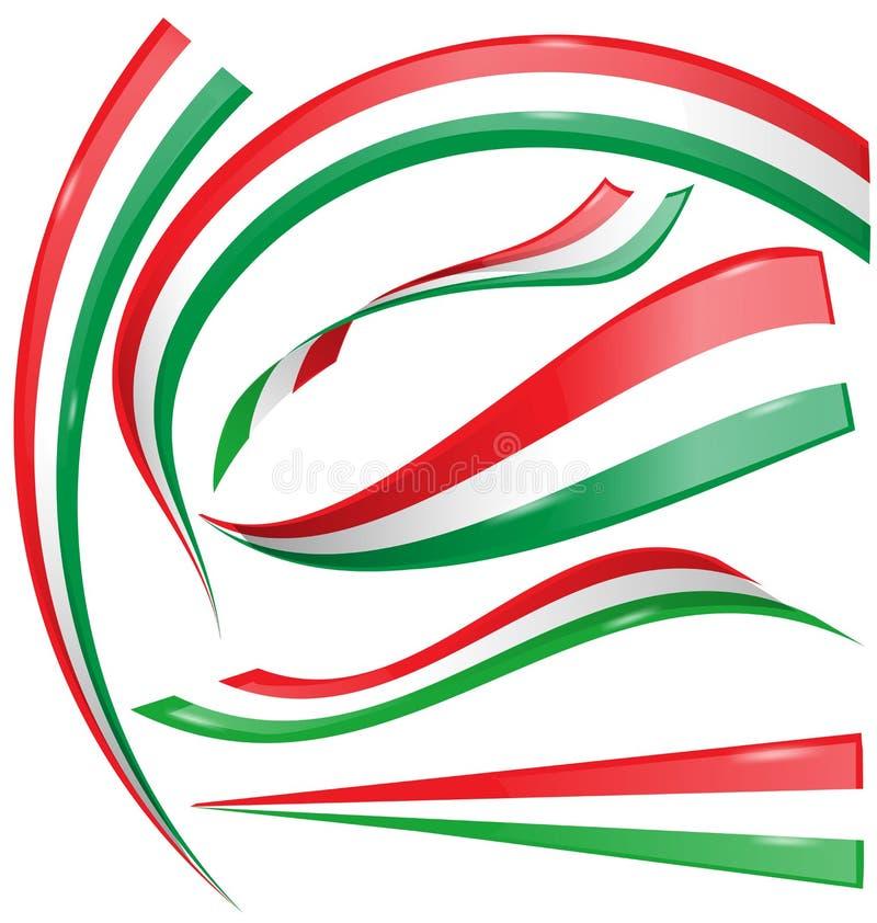 Insieme della bandiera italiana e messicana isolato royalty illustrazione gratis