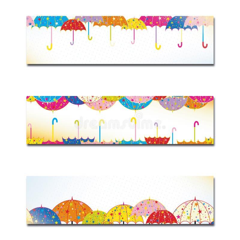 Insieme della bandiera variopinta della pioggia di autunno dell'ombrello illustrazione vettoriale
