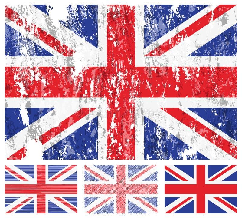Insieme della bandierina del grunge del Regno Unito royalty illustrazione gratis