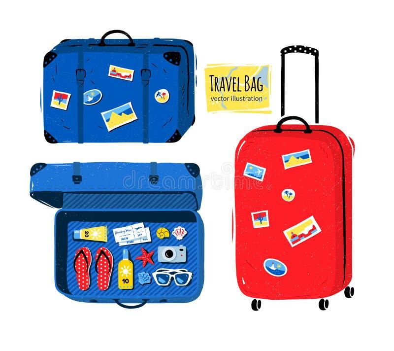 Insieme della borsa e delle valigie di viaggio