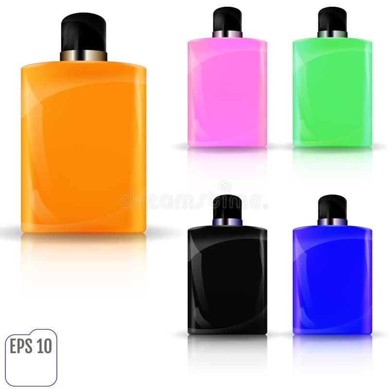 Insieme della bottiglia cosmetica realistica Raccolta cosmetica FO del pacchetto royalty illustrazione gratis