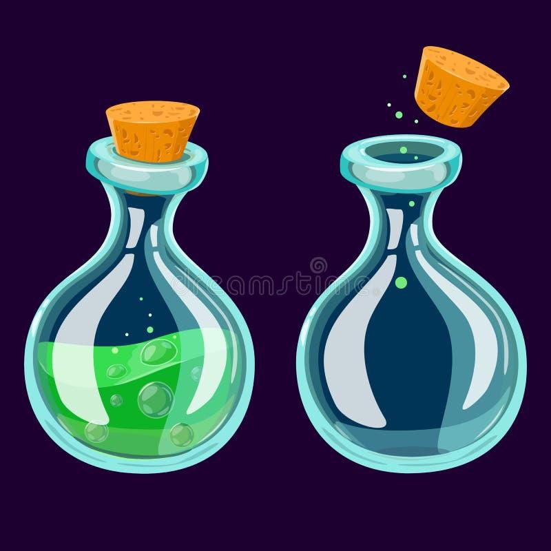 Insieme della bottiglia della pozione del fumetto Boccette di vetro con i liquidi variopinti isolati su un fondo scuro Icona del  illustrazione di stock