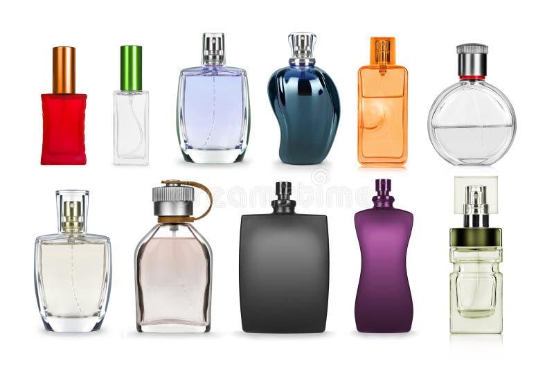 insieme della bottiglia di profumo isolato su bianco immagine stock