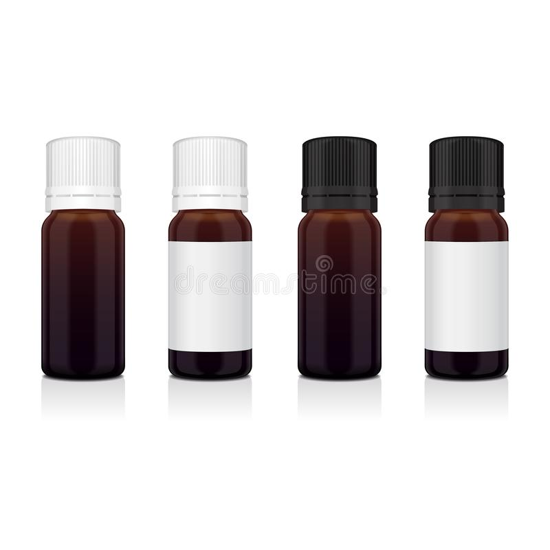 Insieme della bottiglia realistica di marrone dell'olio essenziale Derida sul cosmetico della bottiglia o sulla fiala medica, la  illustrazione vettoriale