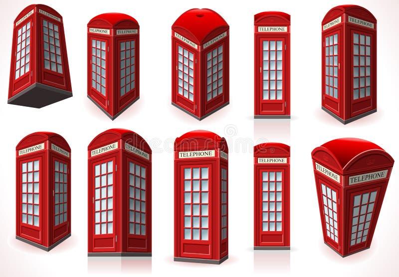 Insieme della cabina rossa inglese del telefono illustrazione vettoriale