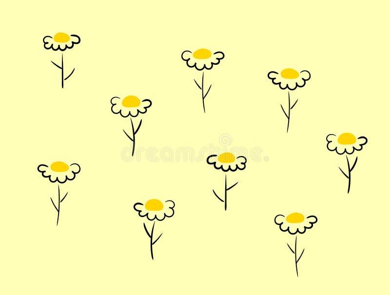 Insieme della camomilla Icona della camomilla della margherita bianca Raccolta rotonda sveglia della pianta del fiore Simbolo del illustrazione di stock