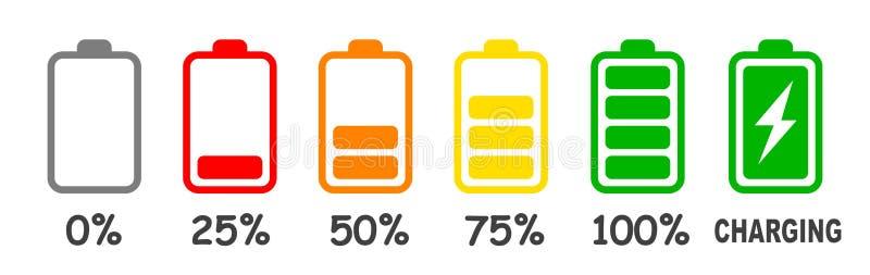 Insieme della carica della batteria di livello dell'indicatore del vettore in percento - illustrazione di stock