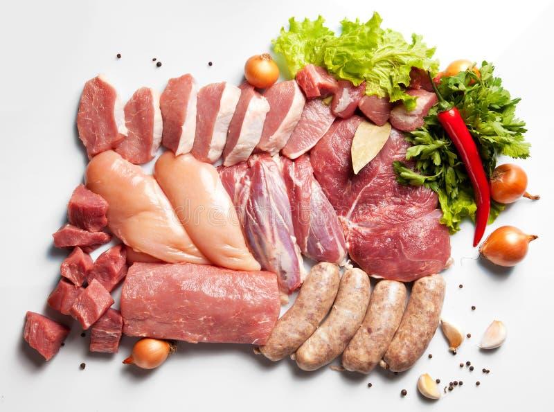 Insieme della carne fresca fotografie stock