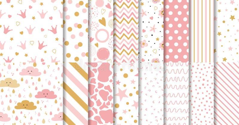 Insieme della carta da parati senza cuciture rosa dolce sveglia dei modelli per poca raccolta del fondo di rosa della neonata illustrazione di stock