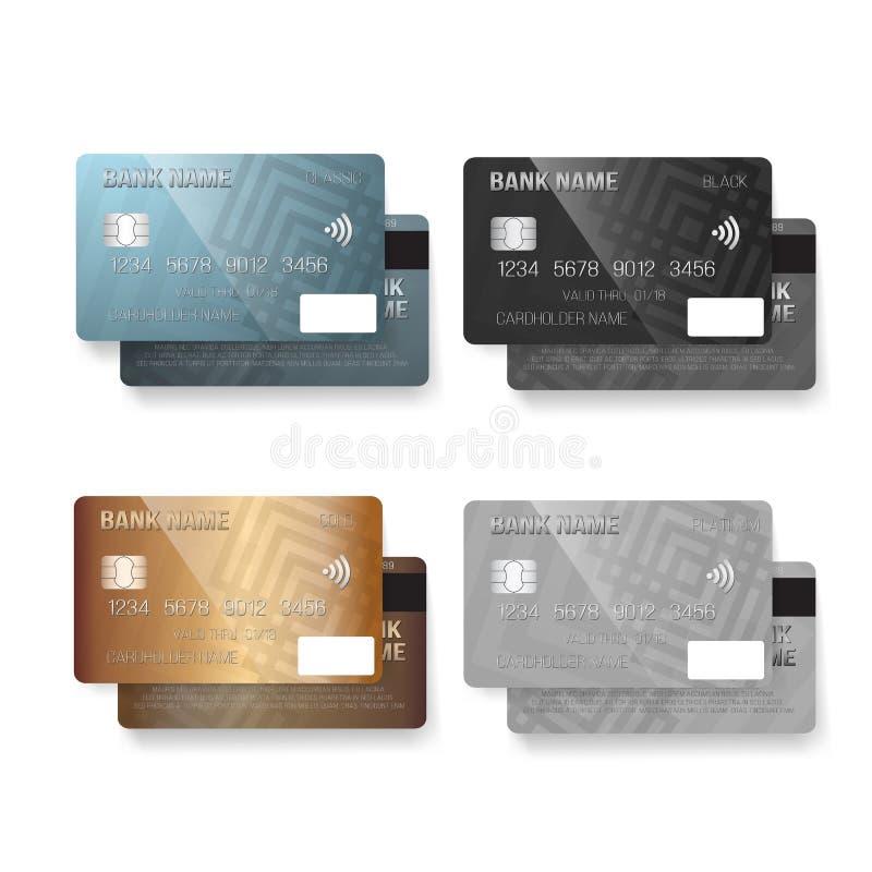 Insieme della carta di credito di vettore Carte assegni realistiche isolate su fondo bianco illustrazione di stock