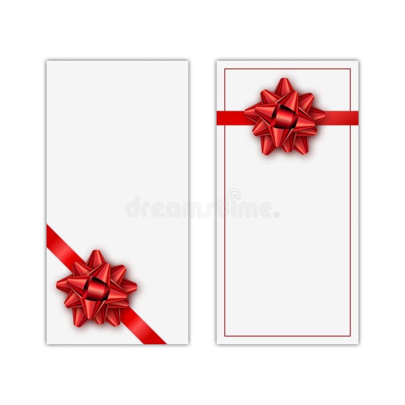 Insieme della carta di regalo bianca della festa con il nastro e l'arco rossi Modello per un biglietto da visita, insegna, manife royalty illustrazione gratis