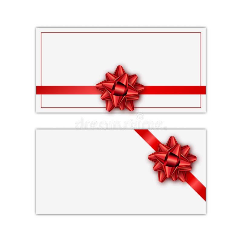 Insieme della carta di regalo bianca della festa con il nastro e l'arco rossi Modello per un biglietto da visita, insegna, manife illustrazione di stock