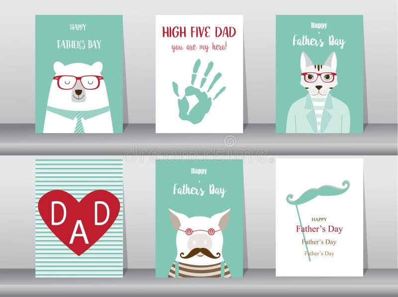 Insieme della carta felice di giorno del ` s del padre, manifesto, modello, cartoline d'auguri, sveglie, orso, gatti, maiale, ani illustrazione vettoriale