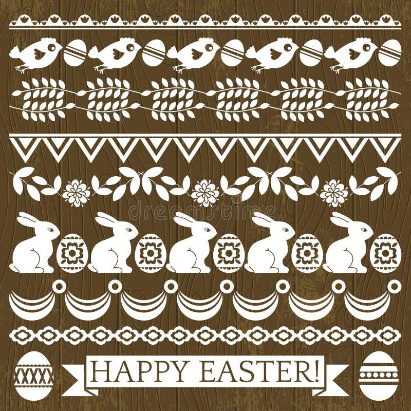 Insieme della carta pizzo con i fiori e le uova di Pasqua illustrazione vettoriale