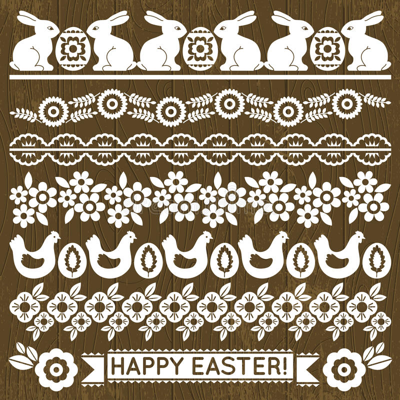 Insieme della carta pizzo con i fiori e le uova di Pasqua illustrazione di stock