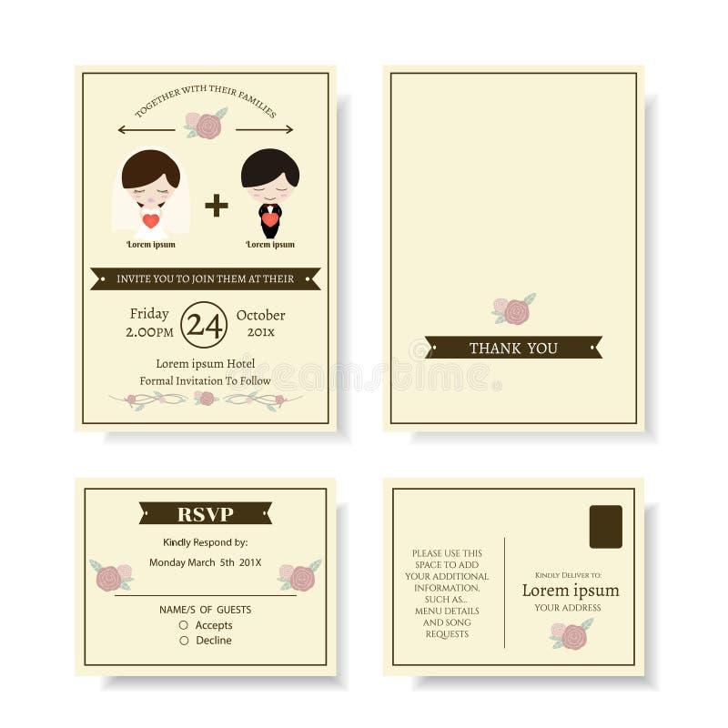 Insieme della carta sveglia dell'invito di nozze del fumetto delle coppie Stile moderno royalty illustrazione gratis