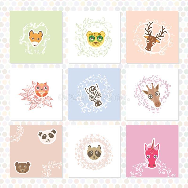 Insieme della cartolina d'auguri Animali divertenti Confini floreali del cerchio Strutture di schizzo, disegnate a mano Vettore illustrazione vettoriale