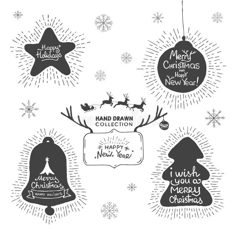 Insieme della cartolina d'auguri del disegno della mano di Natale e di festa illustrazione di stock