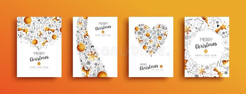 Insieme della cartolina d'auguri dell'oro del nuovo anno e di Natale illustrazione vettoriale